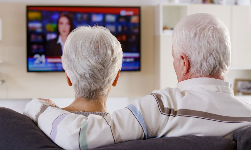Couple watching tv image